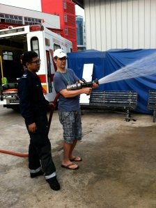 Spraying the hose