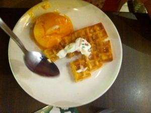 Waffle and mango sorbet